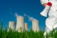 Protesting at Nuclear Plant Stock Image