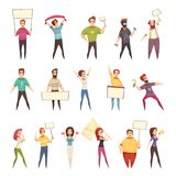 Protesting People Decorative Icons Set. Of young men and women demonstrating protest with placards and flags isolated cartoon vector illustration Royalty Free Stock Photography
