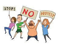 Protesting people. A group of men and women with posters at a rally or protest action. Vector illustration, isolated on. Protesting people. A group of young men Royalty Free Stock Images