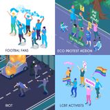 Protesting People Isometric Design Concept. With football fans eco meeting riot and lgbt activists isometric vector illustration stock illustration
