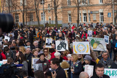 Protesting students and teachers at a rally in defense of the Timiryazev Academy Royalty Free Stock Photography