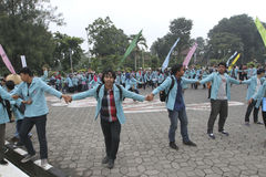 Protesting. Students were protesting the government's decision in the city of Solo, Central Java, Indonesia Royalty Free Stock Photos
