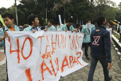 Protesting. Students were protesting the government's decision in the city of Solo, Central Java, Indonesia Stock Image