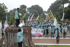 Protesting. Students were protesting the government's decision in the city of Solo, Central Java, Indonesia Royalty Free Stock Photography