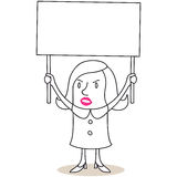Protesting woman with blank sign Royalty Free Stock Photo