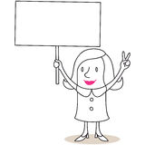 Protesting woman blank sign and victory sign Stock Photography