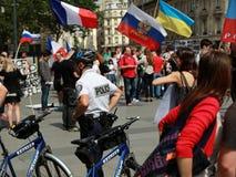 Protestmanifestation mot krig i Ukraina Royaltyfria Foton