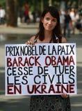 Protestmanifestation mot krig i Ukraina Arkivbild
