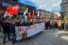 Protestmars - Vigo, Spanien Arkivfoto