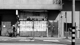 Protestmeddelanden som finnas på övergiven byggnad i Kennedy Town, Hong Kong Royaltyfri Fotografi