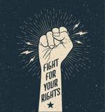 Protestnäve med kampen för ditt rätttecken på Grunge utformad vektorillustration stock illustrationer