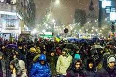 Protesto anticorrupção em Bucareste Imagens de Stock Royalty Free