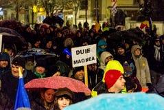 Protesto anticorrupção em Bucareste Fotografia de Stock