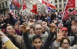 protesto aposentado em Alicante imagens de stock