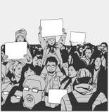 Protesto calmo da multidão da ilustração com as crianças que guardam sinais vazios ilustração do vetor