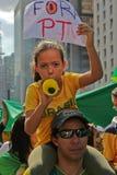 Protesto contra a corrupção do governo federal em Brasil Fotografia de Stock