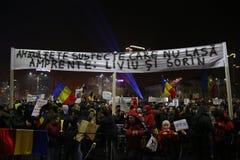 Protesto contra a corrupção e o governo romeno fotografia de stock royalty free