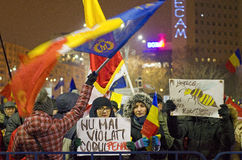 Protesto contra o governo em Bucareste Foto de Stock
