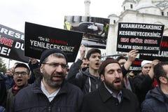 Protesto contra o massacre em Nova Zelândia, Istambul imagens de stock royalty free