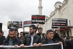 Protesto contra o massacre em Nova Zelândia fotos de stock
