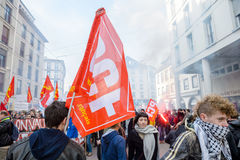 Protesto contra reformas do trabalho em França Foto de Stock Royalty Free
