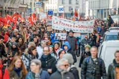 Protesto contra reformas do trabalho em França Fotos de Stock Royalty Free