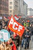 Protesto contra reformas do trabalho em França Fotografia de Stock Royalty Free