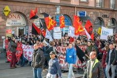 Protesto contra reformas do trabalho em França Imagens de Stock Royalty Free