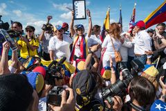 Protesto da Venezuela do SOS imagens de stock