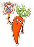 Protesto das cenouras dos desenhos animados contra coelhos Imagens de Stock