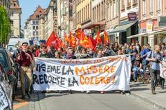 Protesto de abril contra reformas do trabalho em França Fotos de Stock Royalty Free