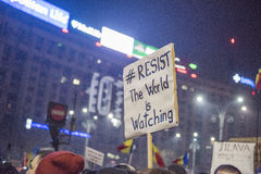 Protesto de Bucareste contra o governo Fotografia de Stock