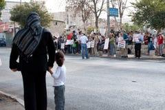Protesto de encontro aos estabelecimentos de Jerusalem do leste imagem de stock royalty free