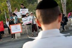 Protesto de encontro aos estabelecimentos de Jerusalem do leste fotografia de stock