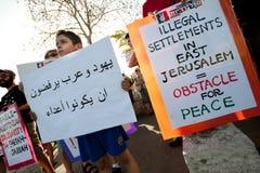 Protesto de encontro aos estabelecimentos israelitas foto de stock