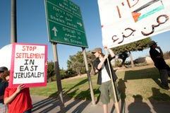 Protesto de encontro aos estabelecimentos israelitas imagem de stock