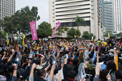 Protesto de Hong Kong de encontro à planta do orçamento em 06 março Imagem de Stock