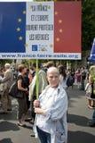 Protesto de Paris de encontro às expulsões de Roma foto de stock