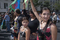 Protesto de Paris de encontro às expulsões de Roma fotografia de stock