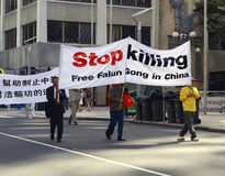 Protesto do Falun Gong foto de stock