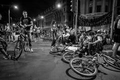 Protesto dos ciclistas Fotografia de Stock