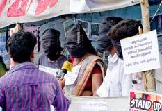 Protesto em indígenas urbanos do apoio, Índia Fotografia de Stock