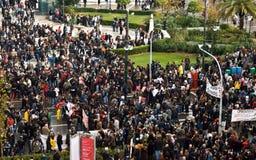 Protesto em massa, estreptococo de Panepistimiou, Atenas, Greece imagem de stock royalty free
