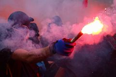 Protesto em Paris contra a lei laboral Foto de Stock Royalty Free