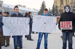 Protesto em Romania de encontro à ACTA Fotos de Stock