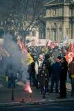 Protesto francês dos trabalhadores fotografia de stock