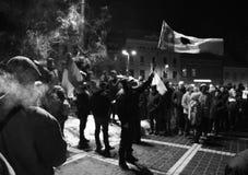 Protesto grande em Romênia fotografia de stock