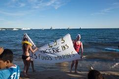 Protesto novo dos atores contra a lei 49 3 fotos de stock
