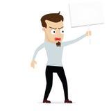 Protesto novo dos desenhos animados do homem de negócios guardado Foto de Stock