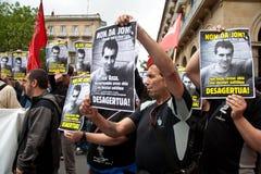 Protesto para o desparition de Jon Anza Foto de Stock Royalty Free